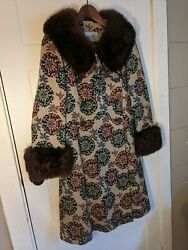 Vintage Midbrooke Womenand039s Long Tapestry Coat Mcm Mid Century 60and039s 70and039s Size S