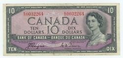 1954 Bank Of Canada 10 Devil Face - Vf - Coyne Towers E/d 0032264 - Ck23