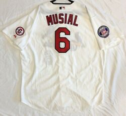 Authentic Majestic 60 4xl, St Louis Cardinals Stan Musial On Field White Jersey