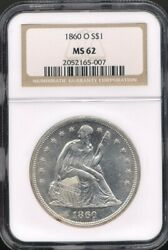 1860-o Seated Liberty Silver Dollar Ngc Ms 62 A Great Type Coin