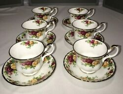 Set Of 6 Royal Albert Old Country Roses Tea Cups And Saucers