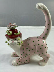 2004 Amy Lacombe Whimsiclay Cat Pink W/ Green Polka Dots,13026 Red Hat Rose