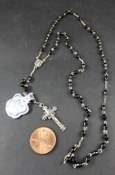 Dnb Vintage Sterling Silver And Wood Beads Rosary 14 Long Sterling Cross Rome Nr
