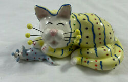 Amy Lacombe Whimsiclay Cat And Mouse Yellow W/ Stripes And Polka Dots,86005