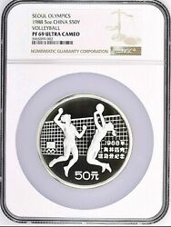1988 China 5oz 50 Yuan Seoul Olympics Volleyball Proof Silver Coin Ngc Pf69 Uc