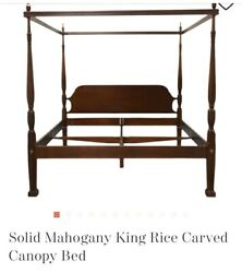 Four Poster Mahogany Carved Rice Plantation King Canopy Bed
