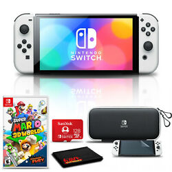 Nintendo Switch Oled White With Super Mario 3d World + Bowserand039s Fury 128gb