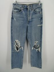 Agolde Women 26 Blue Button Fly High Rise Denim Straight Jeans Ripped Distressed