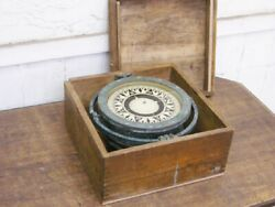 Maritime Compasses Japanese Ship Compass With Wooden Box Retro Antique G3443