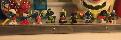 Vintage Lot 9 Smurfs Toy Figures Holiday Peyo Schelich 70andrsquos 80andrsquos Holidays