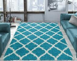 Ottomanson Collection Trellis Shag Rug 3and0393 X 4and0397 Turquoise 4 Feet