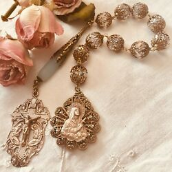 Rosary Chaplet Austrian Crystal And Sea-glass French Bronze Handmade
