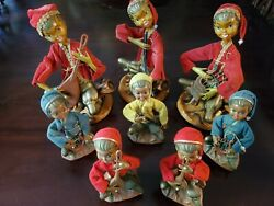 Lot Of 8 Vintage Tilso Pixie/elf Musical Figurines Hong Kong Mid-century