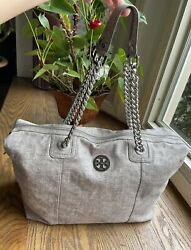 Tory Burch Large Overnight Tote ShoulderBag silver $95.00