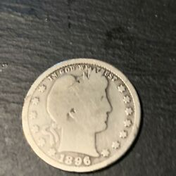 1896-s Barber Quarter Dollar 25c Rare Key Date Nicely Circulated