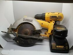 Dewalt Dw939 18v Cordless Circular Saw And Drill Dc759 With Battery And Charger