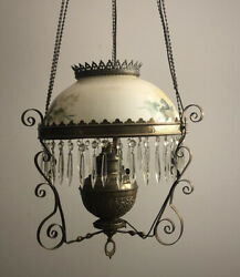 Antique Victorian Hanging Oil Lamp Converted To Electric Brass Crystals