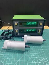 2 Mitutoyo 164-114 Micrometer Head With 164-735 Dro Digital Readout