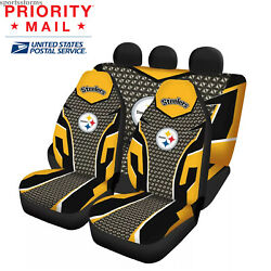Us Pittsburgh Steelers Front Rear Car Seat Covers 5 Seats Pickup Car Floor Mats