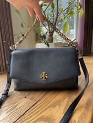 Tory Burch Kira Black Leather ShoulderBag Bag Mixed materials Suede amp; Leather $145.00