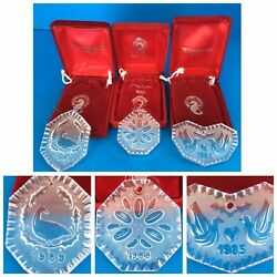 3 Waterford Crystal Christmas Ornaments 12 Days 1985, 1988 + 1989 Partridge