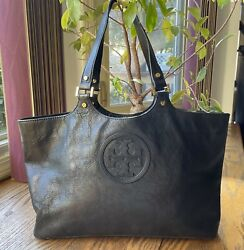 Tory Burch Bombe Tote Black Leather $86.00