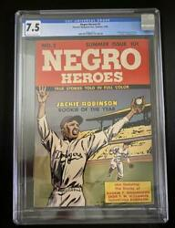 1948 Negro Heroes Comic Issue 2 Jackie Robinson Cover Cgc 7.5