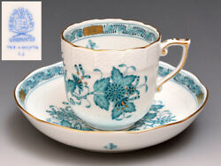 Herend Helend Coffee Cup Saucer Indian Flower Kim Aya Turquoise Porcelain