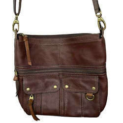 FOSSIL Crossbody Bag Brown Pebbled Leather Large Purse $49.00