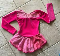 Girls Fairy Sparkly Hot Pink Velvet Chiffon Competition Figure Ice Skating Dress