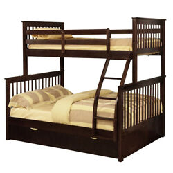 Saltoro Sherpi Mission Style Twin Over Full Bunk Bed With Attached Trundle, Dark
