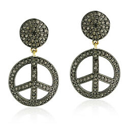 Pave Diamond Peace Sign Round Dangle Earrings 14k Gold 925 Silver Jewelry Gift