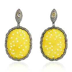 2.12ct Pave Diamond Carved Gemstone Dangle Earrings Gold Sterling Silver Jewelry