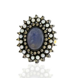 18k Gold 10.1ct Sapphire Pearl 925 Sterling Silver Diamond Cocktail Ring Jewelry