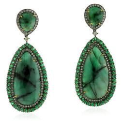 34.54ct Emerald 18kt Gold Pave Diamond Dangle Earrings Sterling Silver Jewelry