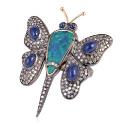 6.1 Ct Gemstone Diamond 18kt Gold Butter Fly Design Ring Sterling Silver Jewelry