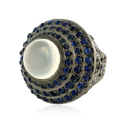 18k Gold 13.19ct Blue Sapphire Agate Diamond Dome Ring Sterling Silver Jewelry