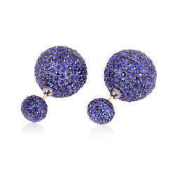 18k Gold Sterling Silver Blue Sapphire Pave Ball Double Sided Tunnel Earrings