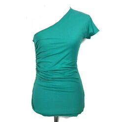 Elizabeth and James Top XS Womens One Shoulder Teal Turquoise Ruched Tee Shirt $20.00