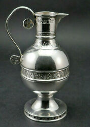 C1876 Exeter Antique 19thc Victorian Solid Silver Travelling Communion Wine Ewer