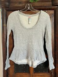 Free People Beach Women#x27;s Grey Pullover Long Sleeve Shirt Super Soft Size XS $12.99