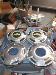 4 Oem Vintage Chevy Truck Hub Caps 12 1/2 Wide With 3 3/4 Circles 4x4