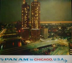 Pan Am Airways Airlines Chicago Vintage 1967 Travel Poster 34.5x44 Very Rare