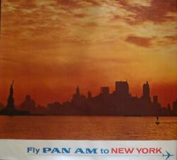 Pan Am Airways Airlines New York Vintage 1967 Travel Poster 34.5x44 Very Rare