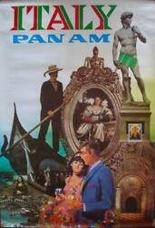Pan Am Airways Airlines Italy Vintage Travel Poster 1968 Rare