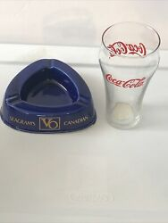 Vintage -ashtray- Seagrams Vo Blue And Gold And 16 Ounce Coca-cola Glass.