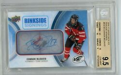 2016-17 Upper Deck Ice Rinkside Signings Connor Mcdavid Auto Bgs 9.5 Auto 10