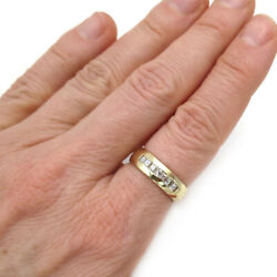 Seevideo 6mm Wide 0.55ct Diamond Mens Wedding Band In 14k Yellow Gold Size 8.5