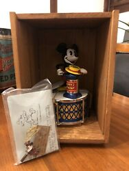 Mickey Mouse 60th Birthday Mechanical Coin Bank W/ Wooden Box And Key