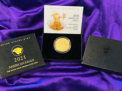 2021 W American Eagle 1 Oz Gold 21ehn Uncirculated With Box And Coa In Hand